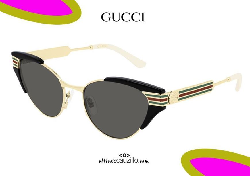 shop online GUCCI sunglasses in narrow cat eye metal GG0522S col. black otticascauzillo acquisto occhiale da sole a punta in metallo