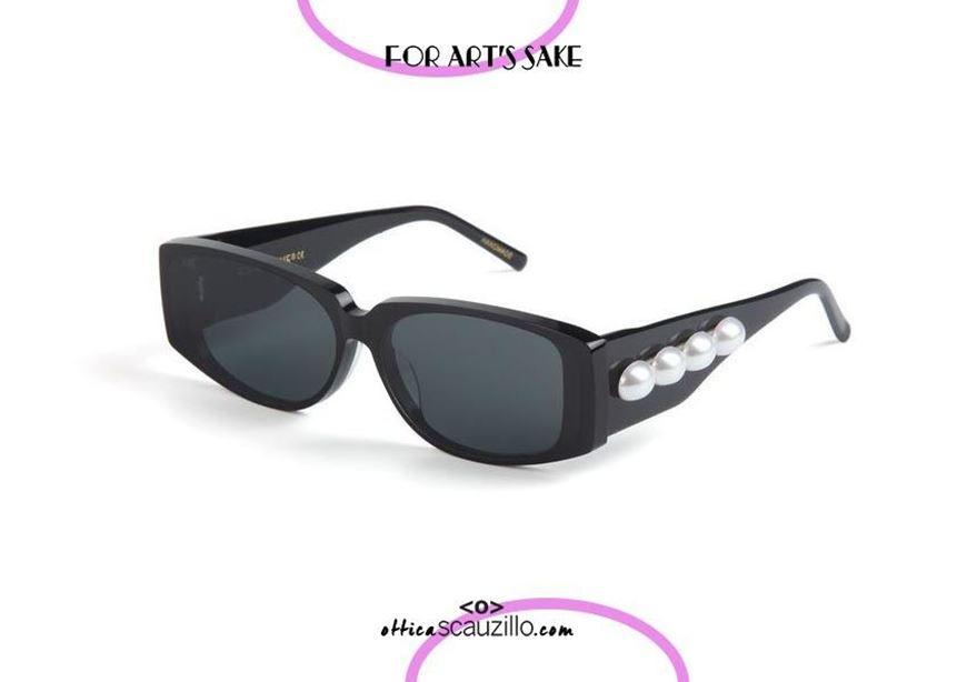 shop online Square sunglasses with pearls For Art's Sake FAME col. black otticascauzillo acquisto online nuovo occhiale da sole squadrato con perle For Art's Sake FAME col. nero