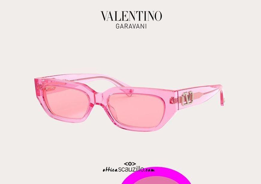 shop online New rectangular pink transparent sunglasses Valentino VA4080 col. 5162U9 otticascauzillo.com acquisto online nuovo occhiale da sole rettangolare rosa trasparente Valentino VA4080 col. 5162U9