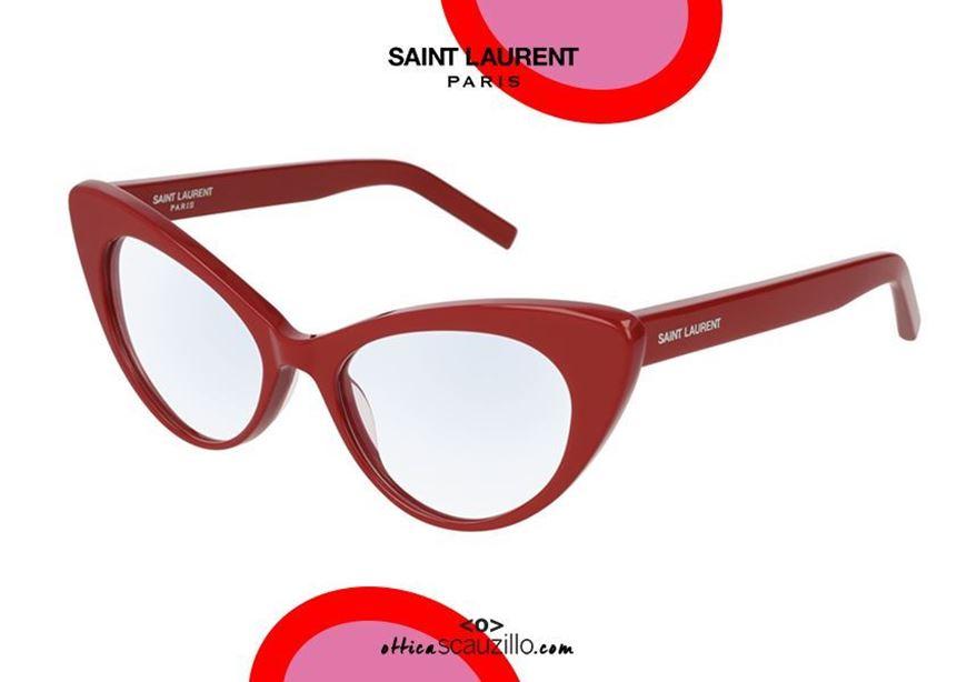 shop online Cay eye vintage eyeglasses SAINT LAURENT SL217 col.004 red otticascauzillo.com acquisto online nuovo Occhiale da vista cat eye SAINT LAURENT SL217 col.004 rosso