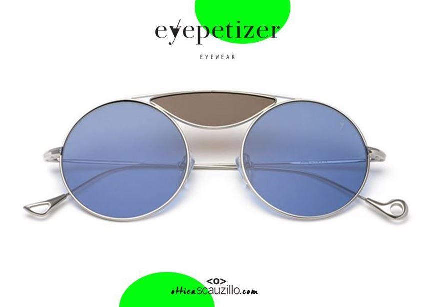 shop online Round metal sunglasses with 3 lenses EYEPETIZER John col. C182 blue and brown lenses otticascauzillo.com acquisto online  Occhiale da sole tondo metallo con 3 lenti EYEPETIZER John col.C182 lenti blu e marrone