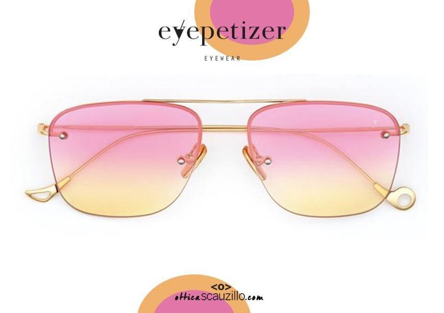 shop online Squared gold rimless sunglasses EYEPETIZER Palmer col.C422F pink orange otticascauzillo.com acquisto online Occhiale da sole senza montatura oro squadrato EYEPETIZER Palmer col.C422F rosa arancio