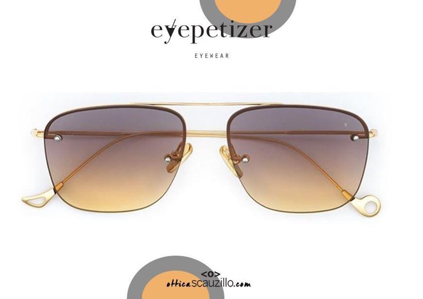 shop online Squared gold rimless sunglasses EYEPETIZER Palmer col. C419 gray yellow otticascauzillo.com acquisto online Occhiale da sole senza montatura oro squadrato EYEPETIZER Palmer col.C419 grigio giallo