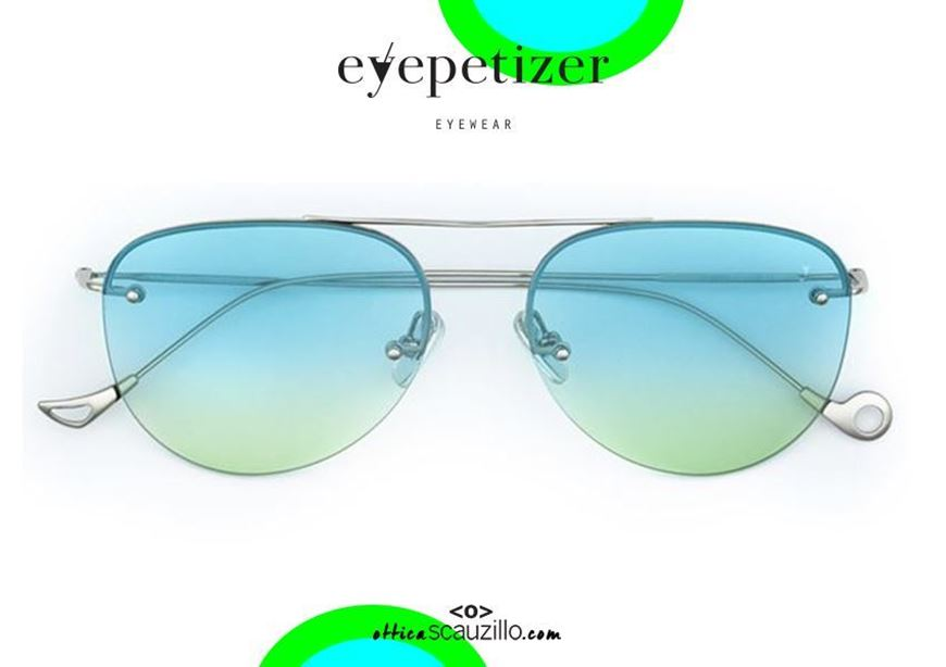 shop online Rimless aviator sunglasses EYEPETIZER Player col.C123F light blue green otticascauzillo.com acquisto online Occhiale da sole senza montatura a goccia aviator EYEPETIZER Player col.C123F celeste verde