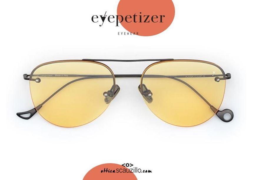 shop online Drop rimless aviator sunglasses EYEPETIZER Player col.C324 orange otticascauzillo.com acquisto online Occhiale da sole senza montatura a goccia aviator EYEPETIZER Player col.C324 arancio e montatura metallo grigio canna di fucile