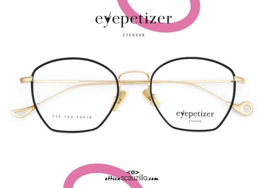 shop online Metal rimmed eyeglasses EYEPETIZER Colette col.C4F gold and black otticascauzillo.com acquisto online Occhiale da vista in metallo cerchiato nero EYEPETIZER Colette col.C4F oro dalla forma a trapezio