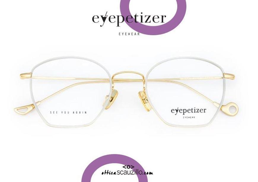 shop online Metal rimmed eyeglasses EYEPETIZER Colette col.C4D gold and white otticascauzillo.com acquisto online Occhiale da vista in metallo cerchiato bianco a trapezio EYEPETIZER Colette col.C4D oro