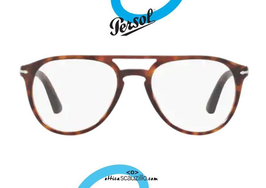 shop online round double bridge Professor Casa di Carta eyeglasses Persol PO3160 col. 9015 brown otticascauzillo acquisto online Occhiale da vista tondo doppio ponte professore Casa di Carta Persol PO3160 col.9015 marrone