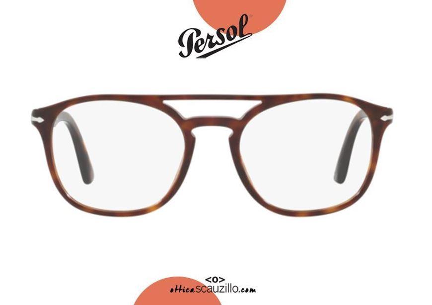 shop online Square double bridge eyeglasses PERSOL PO3175 col. 9015 brown otticascauzillo acquisto online Occhiale da vista squadrato doppio ponte PERSOL PO3175 col.9015 marrone