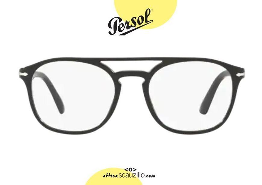 shop online Squared double bridge eyeglasses PERSOL PO3175 col. 9014 black otticascauzillo acquisto online nuovo Occhiale da vista squadrato doppio ponte PERSOL PO3175 col.9014 nero