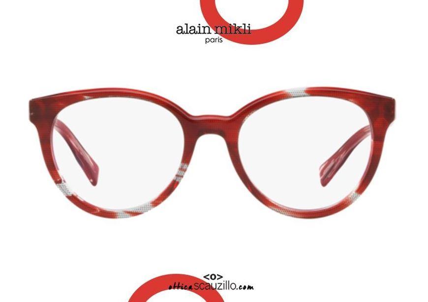 shop online Round butterfly eyeglasses Alain Mikli AO3070 col. 007 red otticascauzillo acquisto online Occhiale da vista tondo a farfalla Alain Mikli AO3070 col. 007 rosso