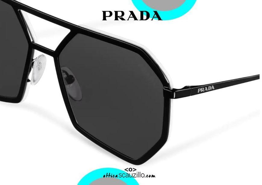 shop online New geometric aviator sunglasses PRADA SPR62X col. black and white otticascauzillo acquisto online Nuovo occhiale da sole aviator geometrico PRADA SPR62X col. nero e bianco