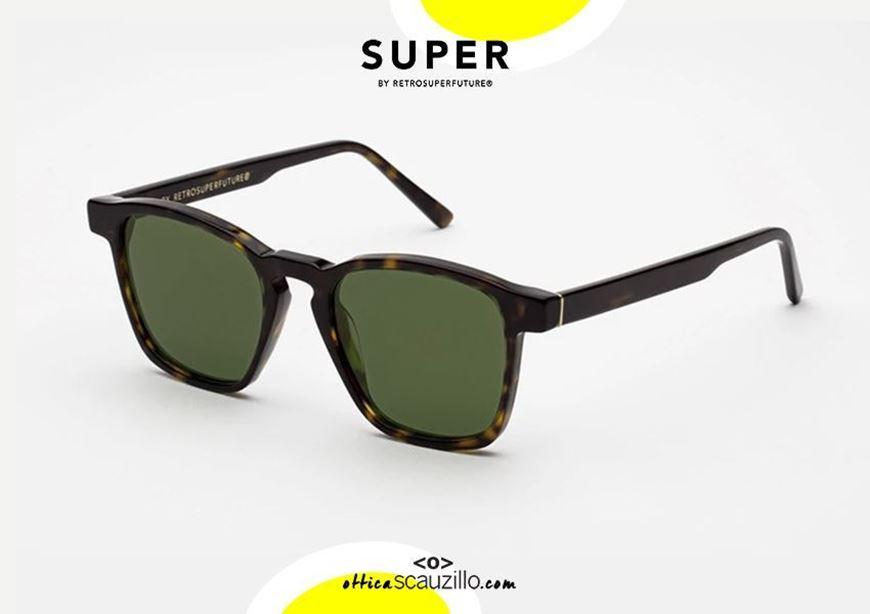 shop online Havana brown square sunglasses RETRO SUPER FUTURE UNICO green lens otticascauzillo.com  acquisto online nuovo Occhiale da sole quadrato marrone havana RETRO SUPER FUTURE UNICO lente verde