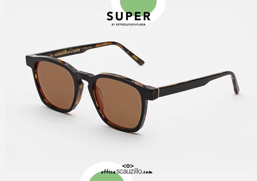 shop online Square black and havana sunglasses RETRO SUPER FUTURE UNICO brown lens otticascauzillo.com acquisto online nuovo Occhiale da sole quadrato nero e havana RETRO SUPER FUTURE UNICO lente marrone