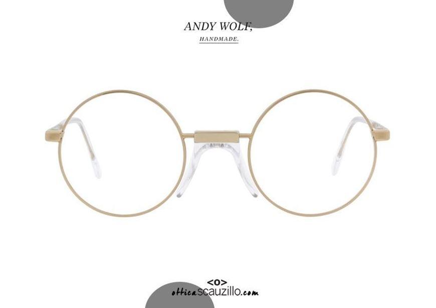 shop online Round metal eyeglasses Andy Wolf mod. Ross col.C gold and transparent otticascauzillo.com acquisto online nuovo Occhiale da vista tondo metallo Andy Wolf mod. Ross col.C oro e trasparente