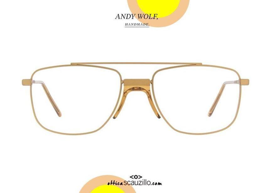 shop online Double bridge eyeglasses Andy Wolf mod. KOLBE col. D orange beige otticascauzillo.com acquisto online occhiale in metallo doppio ponte Andy Wolf mod. KOLBE col. D orange beige