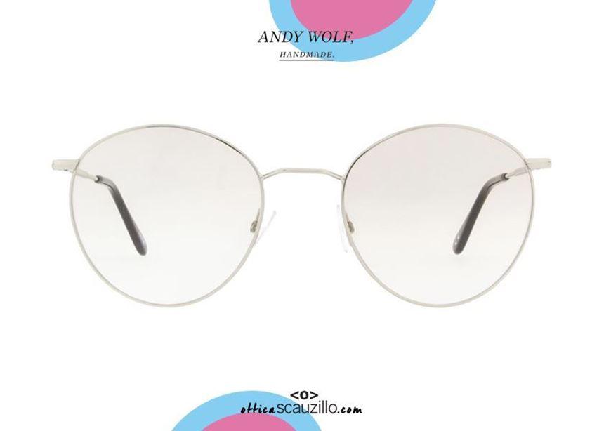 shop online Round metal eyeglasses Andy Wolf mod. 4734 col. A silver otticascauzillo.com acquisto online Occhiale da vista in metallo tondo Andy Wolf mod. 4734 col. A argento