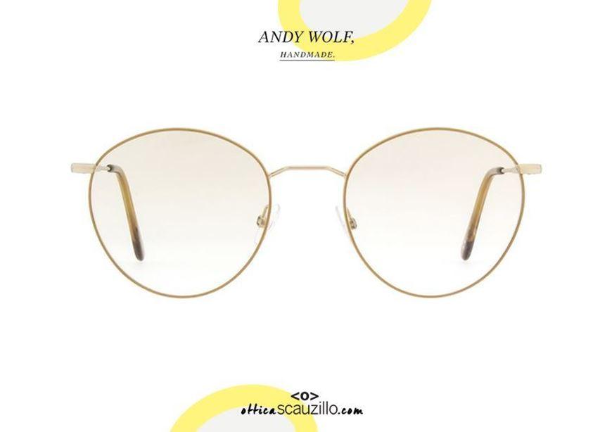 shop online Round metal eyeglasses Andy Wolf mod. 4734 col. M ocher gold otticascauzillo.com acquisto online il tuo nuovo Occhiale da vista in metallo tondo Andy Wolf mod. 4734 col. M oro ocra