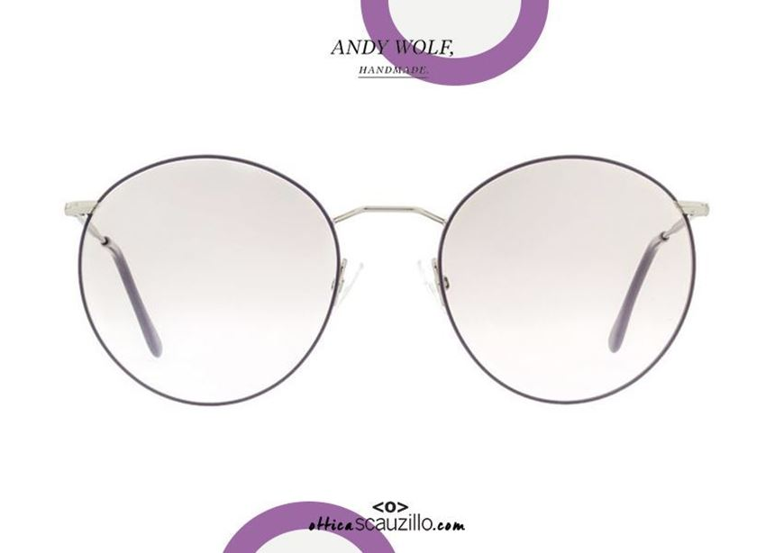shop online Large round metal eyeglasses Andy Wolf mod. 4710 LISA col. M silver and lilac otticascauzillo.com acquisto online nuovo Occhiale in metallo tondo grande Andy Wolf mod. 4710 LISA col. M argento e lilla