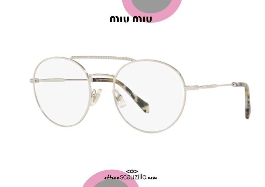 shop online new round Double bridge metal eyeglasses with rhinestones MIU MIU 51RV col. 1BC1O1 silver otticascauzillo.com acquisto online nuovo Occhiale da vista tondo metallo doppio ponte con strass MIU MIU 51RV col. 1BC1O1 argento