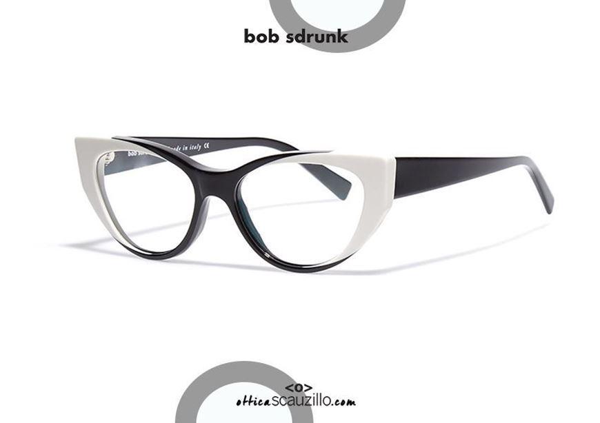 shop online Pointed cat eye eyeglasses BOB SDRUNK Bernadette col. black and white otticascauzillo.com acquisto online il tuo nuovo Occhiale da vista cat eye a punta BOB SDRUNK Bernadette col. bianco e nero
