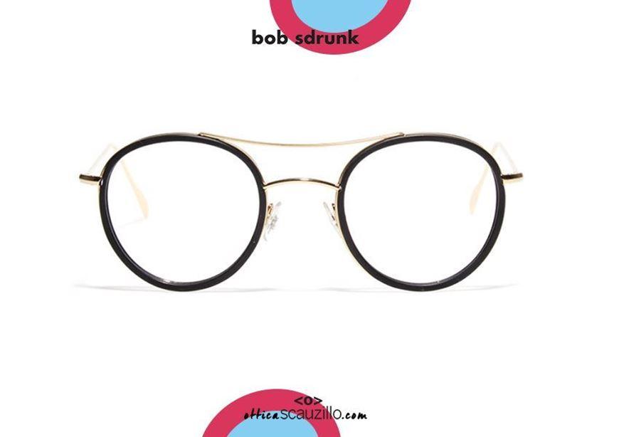 shop online Round metal double bridge eyeglasses BOB SDRUNK Platone col. gold and black otticascauzillo.com acquisto online Occhiale da vista in metallo tondo doppio ponte BOB SDRUNK Platone col. oro e nero