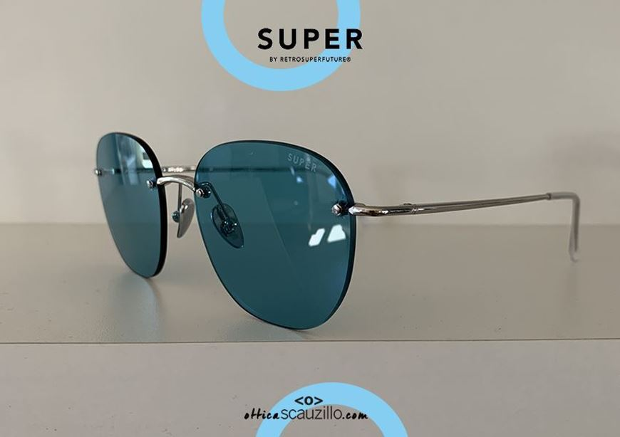 shop online Rimless sunglasses RETRO SUPER FUTURE LOU silver and light blue otticascauzillo.com acquisto online Occhiale da sole senza montatura RETRO SUPER FUTURE LOU argento e celeste