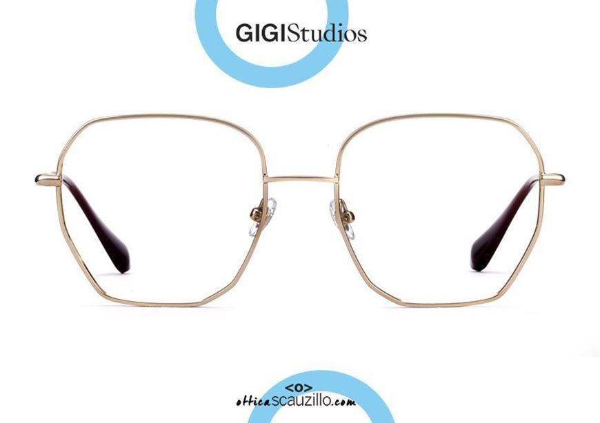shop online Oversized hexagonal eyeglasses GIGI Studios GRACE 6410 gold otticascauzillo.com acquisto online Occhiale da vista esagonale oversize GIGI Studios GRACE 6410/5 oro