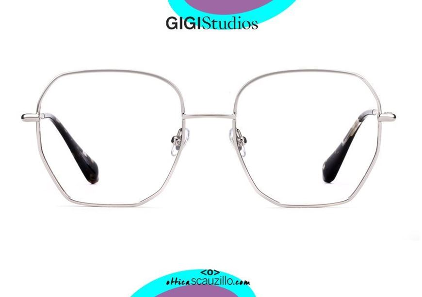 shop online Oversized hexagonal eyeglasses GIGI Studios GRACE 64108 silver otticascauzillo.com acquisto online nuovo Occhiale da vista esagonale oversize GIGI Studios GRACE 6410/8 argento