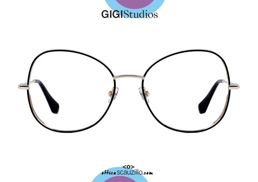 shop online Oversized butterfly metal eyeglasses GIGI Studios KEREN 64361 gold and black otticascauzillo.com acquisto online Occhiale da vista metallo farfalla oversize GIGI Studios KEREN 6436/1 oro e nero