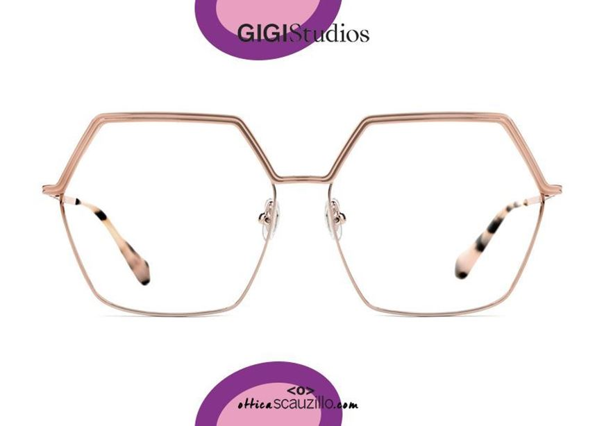 shop online new Oversized hexagonal metal eyeglasses GIGI Studios WANDA 6440 pink gold otticascauzillo.com acquisto online nuovo Occhiale da vista metallo eagonale oversize GIGI Studios WANDA 6440/6 oro rosa