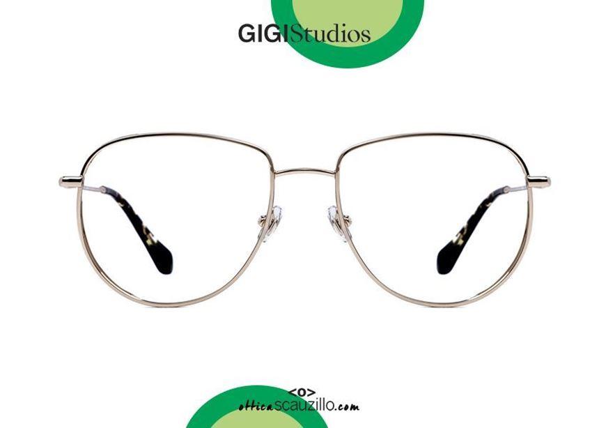 shop online new Oversized metal aviator eyeglasses GIGI Studios WAYNE 6438 gold otticascauzillo.com acquisto online nuovo Occhiale da vista metallo aviator oversize GIGI Studios WAYNE 6438/5 oro