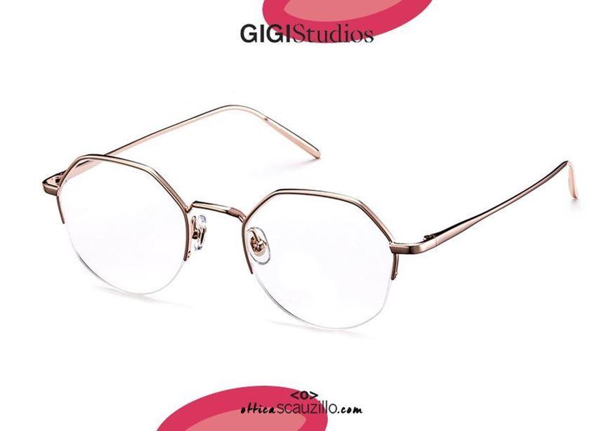 shop onlin new Round hexagon metal eyeglasses GIGI Studios KYOTO 6356 pink gold otticascauzillo.com acquisto online nuovo Occhiale da vista metallo esagono tondo senza montatura sotto GIGI Studios KYOTO 6356/6 oro rosa