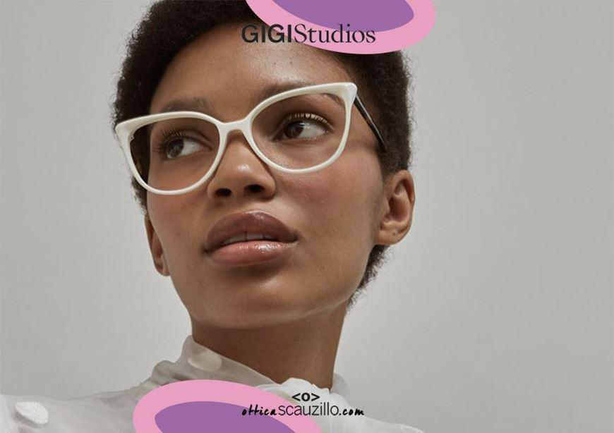 shop online Pointed eyeglasses cat eye GIGI Studios ORNELLA 6469 white and brown otticascauzillo.com acquisto online nuovo Occhiale da vista a punta cat eye GIGI Studios ORNELLA 6469/9 bianco e marrone