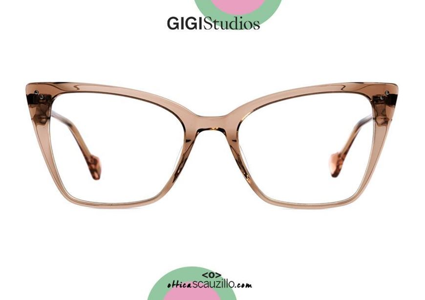 shop online Square pointed eyeglasses cat eye GIGI Studios MARINA 8052 brown otticascauzillo.com acquisto online Occhiale da vista squadrato a punta cat eye GIGI Studios MARINA 8052/2 marrone