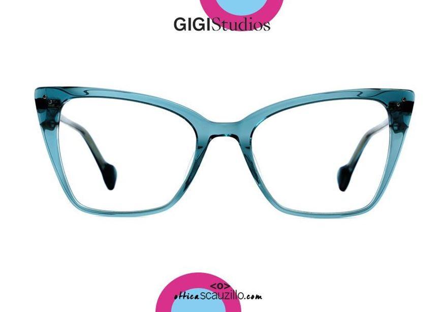 shop online Square pointed eyeglasses cat eye GIGI Studios MARINA 8052 turquoise blue otticascauzillo.com acquisto online Occhiale da vista squadrato a punta cat eye GIGI Studios MARINA 8052/3 blu turchese