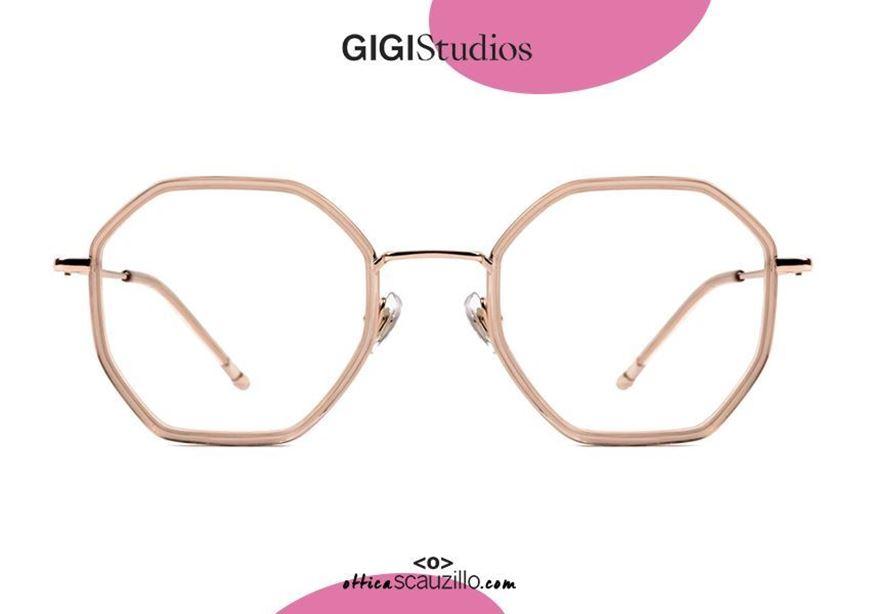 shop online Oversized hexagonal beta titanium eyeglasses GIGI Studios KAROL 8041 pink gold otticascauzillo.com acquisto online Occhiale da vista in titanio esagonale oversize ottagonale GIGI Studios KAROL 8041/6 oro rosa