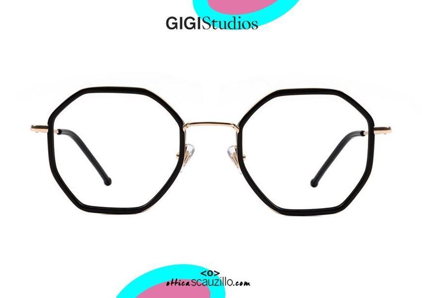 shop online Oversized octagonal titanium eyeglasses GIGI Studios KAROL 8041 gold and black otticascauzillo.com acquisto online nuovo Occhiale da vista in titanio ottagonale oversize GIGI Studios KAROL 8041/1 oro e nero