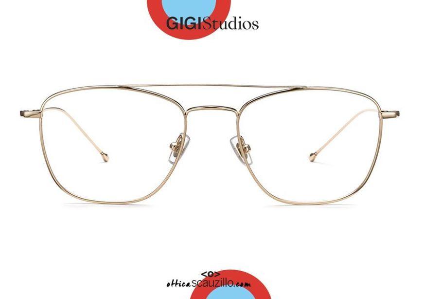 shop online new Titanium narrow rectangular aviator eyeglasses GIGI Studios NAIROBI 7506 gold otticascauzillo.com acquisto online nuovo Occhiale da vista in titanio aviator rettangolare stretto GIGI Studios NAIROBI 7506/5 oro