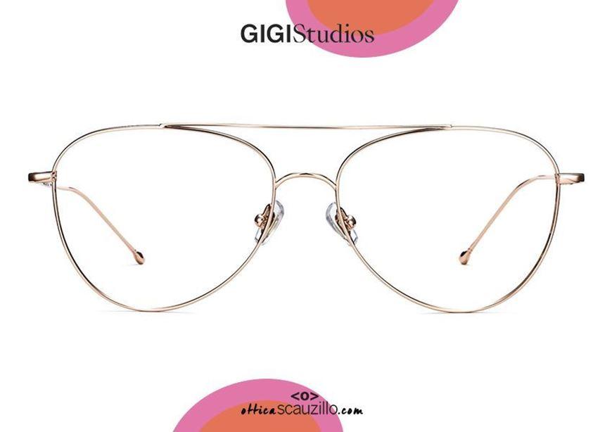 shop online new GIGI Studios WARREN 7510 rose gold teardrop aviator titanium eyeglasses otticascauzillo.com acquisto online occhiale da vista in titanio aviator a goccia GIGI Studios WARREN 7510/5 oro rosa