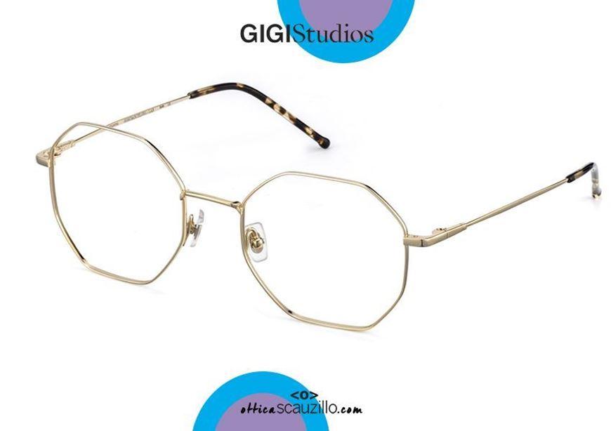 shop online Oversized octagonal titanium eyeglasses GIGI Studios LEA 8034 gold otticascauzillo.com acquisto online nuovo Occhiale da vista in titanio ottagonale oversize GIGI Studios LEA 8034/5 oro