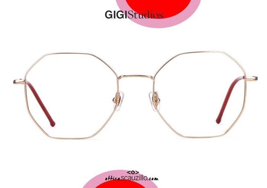 shop online new Oversized octagonal titanium eyeglasses GIGI Studios LEA 8034 pink gold otticascauzillo.com acquisto online nuovo Occhiale da vista in titanio ottagonale oversize GIGI Studios LEA 8034/6 oro rosa