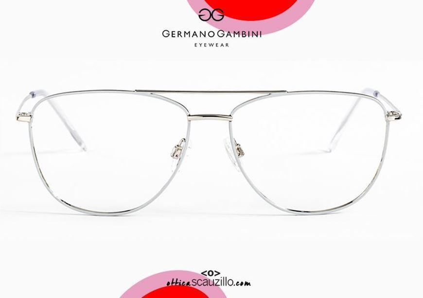 shop online New Germano Gambini GG136 PBI1 silver and white double aviator metal eyeglasses acquisto online Nuovo occhiale da vista metallo aviator doppio ponte Germano Gambini GG136 PBI1 argento e bianco