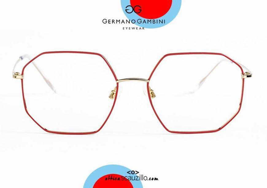 shop online new Germano Gambini GG137 ORO10 red metal irregular eyeglasses otticascauzillo.com acquisto online nuovo Occhiale da vista metallo irregolare Germano Gambini GG137 ORO10 rosso