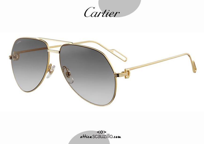 shop online Premiere de CARTIER 351 gold teardrop aviator metal sunglasses otticascauzillo.com acquisto online nuovo Occhiale da sole metallo aviator a goccia Premiere de CARTIER 351 oro