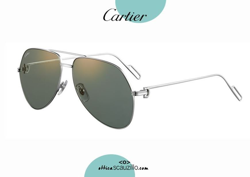 shop online nAviator teardrop metal sunglasses Premiere de CARTIER 366 platinum acquisto online nuovo Occhiale da sole metallo aviator a goccia Premiere de CARTIER 366 platino