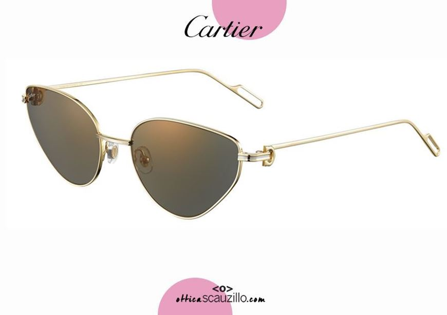 shop online new Gold pointed cat eye sunglasses Premiere de CARTIER 381 otticascauzillo.com acquisto online nuovo Occhiale da sole a punta metallo Premiere de CARTIER 381 oro