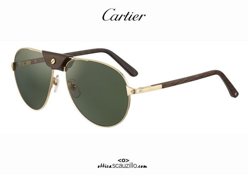 shop online Santos de CARTIER 437 gold aviator teardrop sunglasses otticascauzillo.com acquisto online nuovo Occhiale da sole a goccia aviator Santos de CARTIER 437 oro