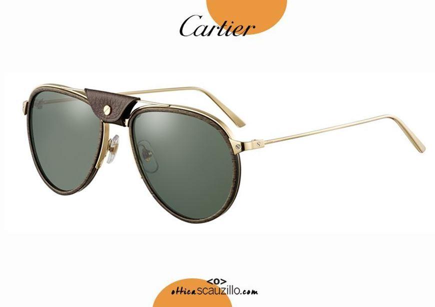 shop online new Santos de CARTIER 355 gold teardrop aviator sunglasses otticascauzillo.com acquisto online nuovo Occhiale da sole a goccia aviator Santos de CARTIER 355 oro