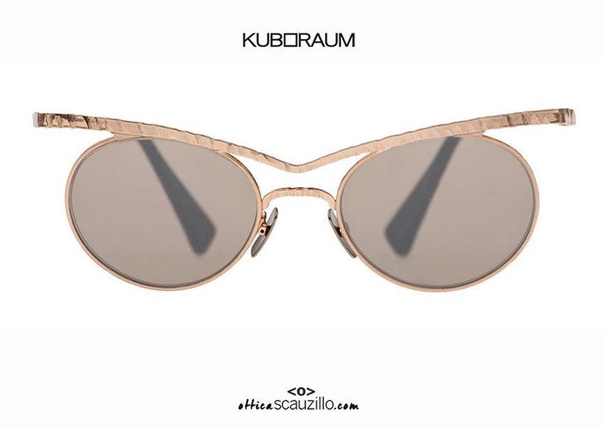 shop online New cat eye round metal sunglasses with tip KUBORAUM Mask H53 pink gold otticascauzillo.com acquisto online Nuovo occhiale da sole in metallo tondo a punta KUBORAUM Mask H53 oro rosa